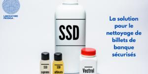 Produits chimiques, solution SSD pour le nettoyage de billets de banque maculé d'encre (noir, rouge, bleu ou vert)